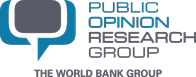 This image displays a speech bubble on the left and the text of Public Opinion Research Group on the right